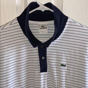 Lacoste polo white with navy stripes size 8/XXL
